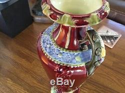 12 Majolica Portrait Vase Antique Austrian Art Pottery/Nouveau Double Handle
