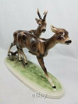 15 Keramos Austria Buck Doe Deer Running Porcelain Figurine Rare EUC