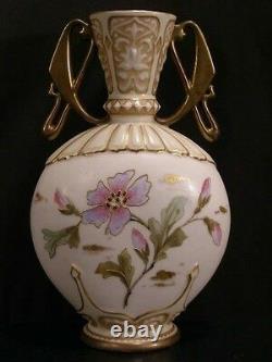 1800's Art Nouveau Austrian Carlsbad Porcelain Pottery Urn Flower Gold Gilt Vase