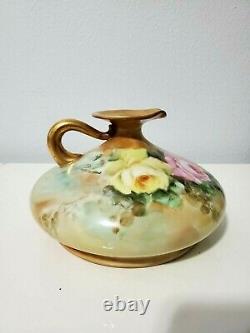 19th Century Austria Hand Painted Squat Pitcher Roses