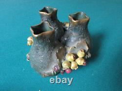 20th C, Turn-Teplitz, Bohemia, 3 Amphoras VASES CONNECTED WITH GRAPEVINE ORIGINA
