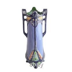 20th Century Art Nouveau Eichwald Majolica Austrian Purple Vase, 1920