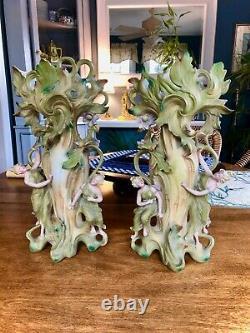 2 Antique Amphora Vases Bohemian Birds Women Art Nouveau Pair