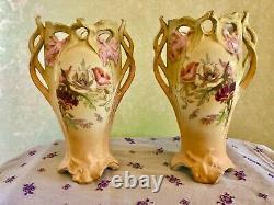 2 Royal Wettina Robert Hanke, Matching Vases, Hand-painted, Austian Empire