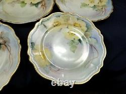 8 Antique Yellow Wild Rose Hand Painted OEG Royal Austria 8 Plates Signed 1900s