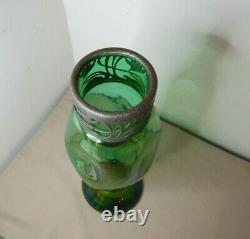 ANTIQUE ART NOUVEAU IRIDESCENT GLASS VASE METAL COLLAR AUSTRIAN 30cm HIGH