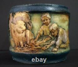 AUSTRIA AMPHORA Children in Molded Relief Turn-Teplitz Bohemia Jardiniere Vase