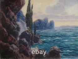 Alexander Scherban, Austrian artist. Sunset at the Riviera. Dated 1920