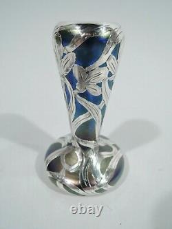 Alvin Vase 3375 Art Nouveau Austrian Iridescent Glass Silver Overlay