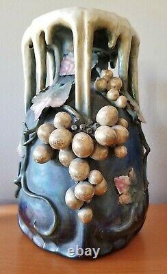 Amphora Art Nouveau Bohemian Pottery Vase with Grapes/Leaves c. 1905-1910