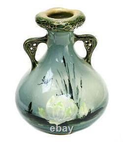 Amphora Austria Porcelain & Enamel Twin Handled Vase, circa 1900. Dragonflies