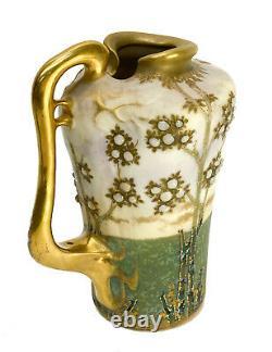 Amphora Austria RSTK Pottery Enameled Jeweled Handled Ewer, circa 1900