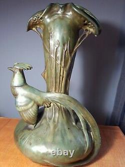 Amphora PHEASANT Art Nouveau Vase Stellmacher Teplitz BOHEMIA Antique