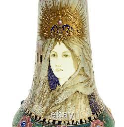 Amphora RSTK Enamel Pottery Vase of A Veiled Beauty #2041, circa 1900