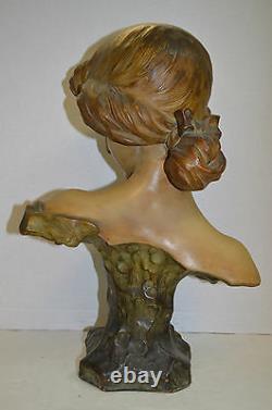Amphora Style Art Nouveau Bust of a Beautiful Young Woman