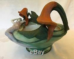 Amphora Turn-Teplitz Planter Centerpiece Bowl / Art Nouveau Woman Water Lilies