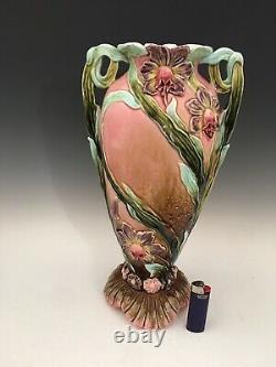 Antique 14in. Austrian Majolica IRIS Art Nouveau Vase