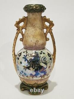 Antique 1905-1910 Fine Art Nouveau Austrian Amphora Lustre Ceramic Vase