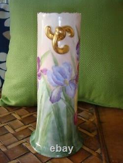 Antique 1909 Vienna Austria Hand Painted Vase Irises, 10 1/4