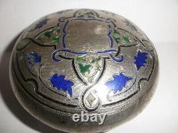 Antique 19thc Austrian silver Art Nouveau enamel round tobacco powder box