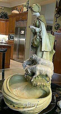 Antique AMPHORA Art Pottery Statue-Girl with Sheep. 22hx15wx11deep. 1905-10