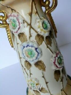 Antique AMPHORA Austria Floral Pottery Vase With Flowers in Relief Gilded Gold