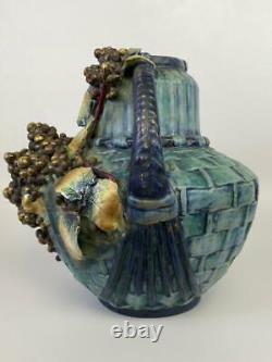 Antique AMPHORA Austria Jugendstil Pottery Grape Berry Leaf Basket Handled Vase