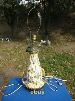 Antique AMPHORA Turn Teplitz RStk Austria ART NOUVEAU LAMP Raised FLOWERS $