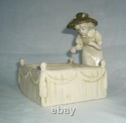 Antique Amphora Austria Young Girl Figurine Garden Scene Planter Or Card Tray