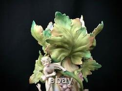 Antique Amphora Bohemian Figural Vase Maidens Cherub