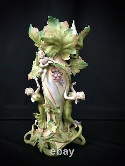 Antique Amphora Bohemian Vase Figural Vase Maidens Cherub