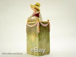 Antique Amphora Porcelain Green Vase Applied Figurine Art Nouveau