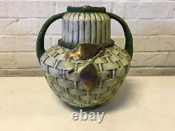 Antique Amphora Pottery Riessner Austrian Double Handled Vase Grapes Decoration