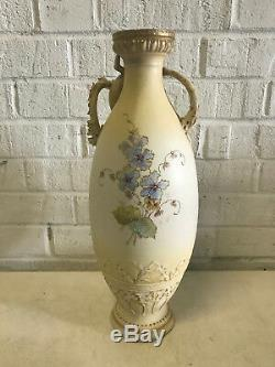 Antique Amphora Riessner Stellmacher & Kessel Pottery Vase w Lizard & Floral Dec
