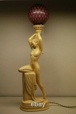 Antique Art Deco Nouveau French Austrian Glass Shade Figural Erotic Art Lamp