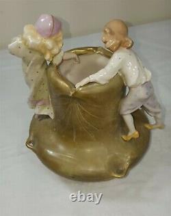 Antique Art Nouveau Amphora Figural Vase with 2 Children
