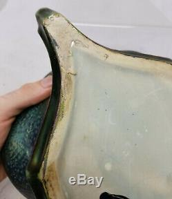 Antique Art Nouveau Amphora Iridescent Luster Glazed Vase Teplitz Turin As Is