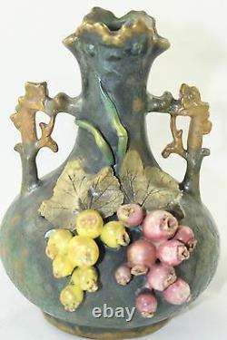 Antique Art Nouveau Amphora Pottery Vase Leaves Berries Teplitz Austria Bohemia