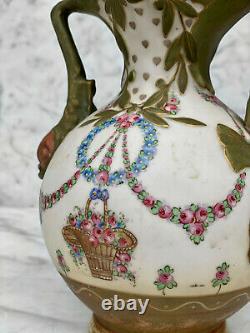 Antique Art Nouveau Amphora Teplitz Porcelain Vase with Fish Handles