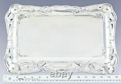 Antique Art Nouveau Austrian 800 Silver Hibiscus Flower Footed Tray/Platter