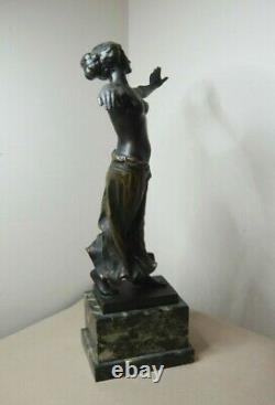 Antique Art Nouveau Austrian Bronze Woman Dancer By Ferdinand Lugerth