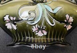 Antique Art Nouveau Austrian Czech Bohemian 2 Handled Majolica Floral Jardiniere