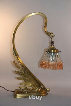 Antique Art Nouveau Austrian Secessionist Lamp Swan Form, Glass Shade