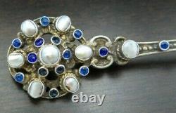 Antique Art Nouveau Austrian Siebenburgen Sterling Silver & Sapphire Brooch