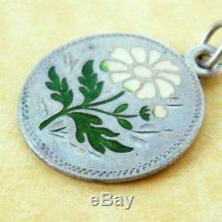 Antique Art Nouveau Austrian Silver Enamel Daisy Flower Charm Engraved M Zell