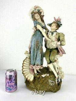 Antique Art Nouveau Austrian Turn Leplitz Porcelain Figurine Couple, 20 H