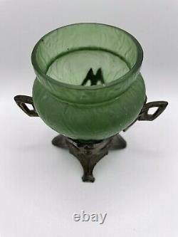 Antique Art Nouveau Bohemian / Austrian Iridescent Glass Vase & Stand 1890-1900