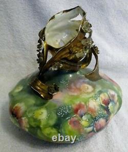 Antique Art Nouveau Carl Knoll Carlsbad Austria Hand Painted Floral Vase c. 1900