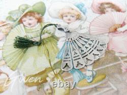 Antique Art Nouveau Charm 1.25 Miniature Hand Fan Austrian Silver 800 Pendant