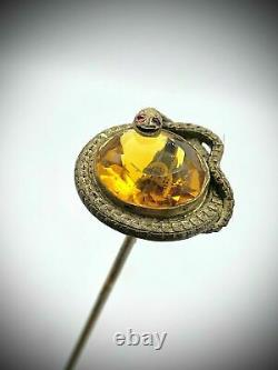 Antique Art Nouveau Deco Old Snake Amber Jeweled Glass Austrian Bronze Hat Pin